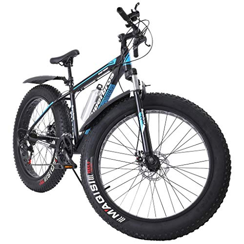 Homlpope Fat Tire Mountain Bikes Men Women 17-Inch/Medium High-Tensile Aluminum Frame, 21-Speed, 26-inch Wheels Outdoor Bicycle