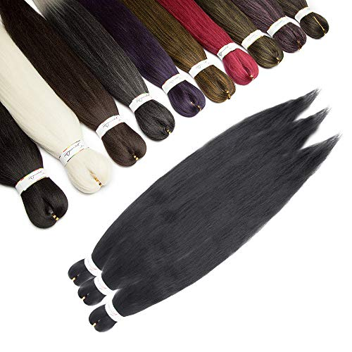 Elailite Treccine Afro Extension Capelli Ricci per Treccia Finta Donna Bambina Trecce Lunghe 65cm 3 Ciocche Braids Braiding Hair Fibre Crochet 270g - Nero