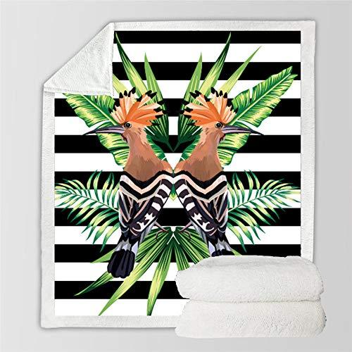 WUCHONGSHUAI 3D Printed Blanket,Plant Leaf Bird Square Blanket 3D Digital Printing Adults Sofa Sherpa Fleece Throw Blanket Microfiber Bed And Home Bed Blanket,150×130Cm/60×52Inch