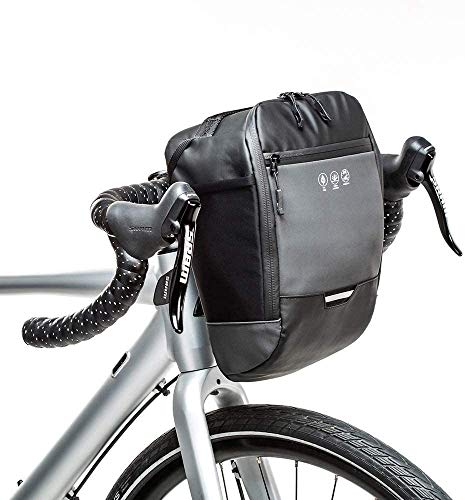Terremon Reflektierende Fahrradlenker-Tasche, wasserdichter Vorderrahmen, Fahrradkorb, Zubehör, Aufbewahrungstasche mit Innentasche für Mountainbike, Rennrad, Scooter, Pendeln, Nachtfahrten, Schwarz