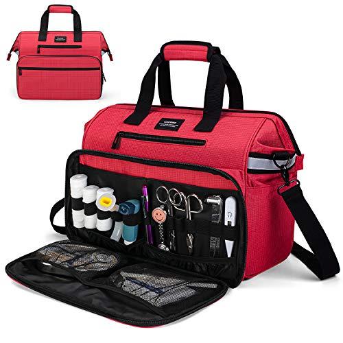 CURMIO Torba medyczna, torba na materiały pielęgniarskie z wyściełanym pokrowcem na laptopa na wizyty domowe, opiekę zdrowotną, hospice, dla lekarzy, studentów pielęgniarstwa, fizjoterapeutów, tylko torebka, czerwona