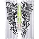 Dormitorio cortinas opacas, bosquejo de tribal espiritual mujer retrato reina folk mítico icono medusa, ancho 108 x largo 84 pulgadas para puertas correderas de vidrio sala de estar, negro blanco