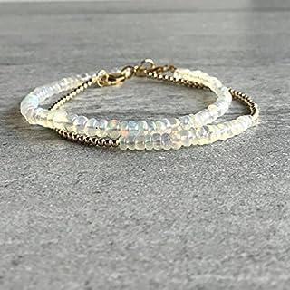 Pulsera de ópalo auténtico | Pulsera minimalista y delicada rellena de oro | Auténtica joyería de ópalo etíope de 3 a 4 mm...