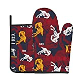 Dinosaur T-Rex Oven Mitts and Pot Holders BBQ Heat Resistant Gloves for Kitchen Cooking Baking,BBQ Party