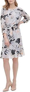 Calvin Klein Women's Printed Wrap Front Long Sleeve Dress