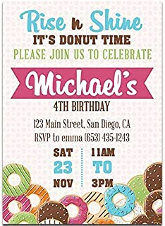 Colors Donuts Birthday Party Invitations