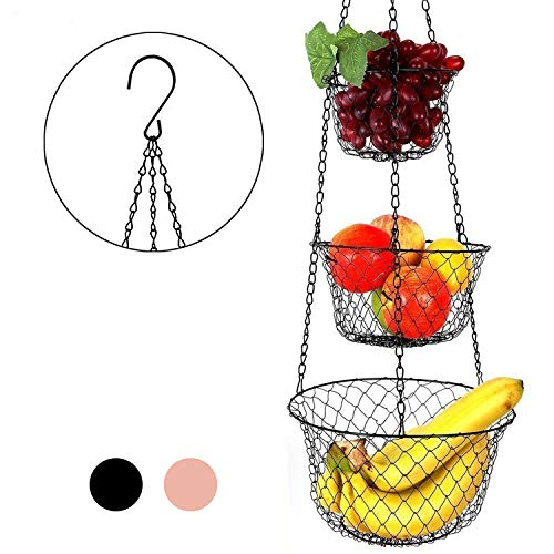 Malmo Hängekorb 3 stöckiger Pflanzen-,Gemüse-,Obstkorb, Basket Verschiedene Ausführungen zur Aufbewahrung Farbe: schwarz