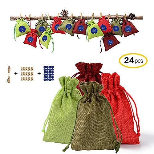 Atack-B 24 Bolsas De Calendario De Adviento Rellenables 2019, con 1-24 Pegatinas Digitales, Calendario De Cuenta Regresiva 2019, Bolsa, Bolsa con Cordón De Yute - 14x10cm