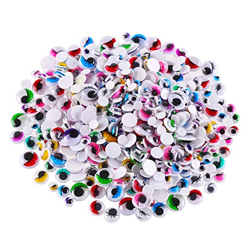 CCINEE 500 Pieces 6-12 mm Wiggle Eyes Multi Color Google Eyes with Self Adhesive Eyelash Googly Eyes for Craft Making
