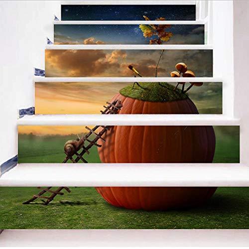 libby-nice Vivid 6 Unids/Set DIY 3D Pasos Escalera Etiqueta Motivación Caracol Paisaje Wallpaper PVC Patrón Patrones Paisaje Decoración del Hogar