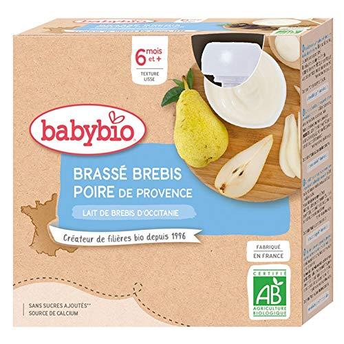 Babybio - Lait de brebis français - Gourdes Brassé Poire de Provence 4x85 g - 6+ Mois - BIO
