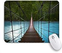 VAMIX マウスパッド 個性的 おしゃれ 柔軟 かわいい ゴム製裏面 ゲーミングマウスパッド PC ノートパソコン オフィス用 デスクマット 滑り止め 耐久性が良い おもしろいパターン (ブルーリバーグリーンフォレストに架かる跳ね橋)
