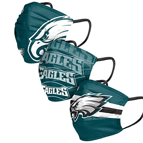 FOCO Philadelphia Eagles NFL Mens Matchday Face Cover - Adult - 3 Pack, NFLFACE3