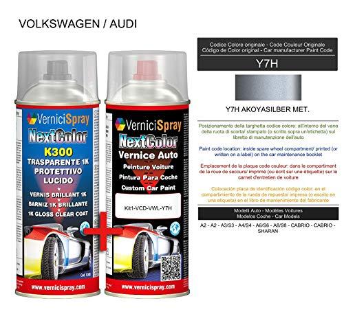 Kit Vernice Auto Spray Y7H AKOYASILBER MET. e Trasparente Lucido Spray - kit ritocco vernice metallizzata 400+400 ml di VerniciSpray