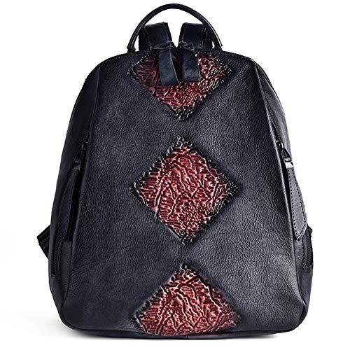 Sonline Reisetasche Retro Rucksack Weiblich Gepr?Gtes Design L?Ssig Trend Rucksack Rucksack Weiblich Leder Rucksack-Schwarz Lila