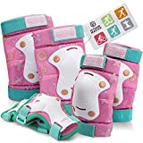 OutdoorMaster Kids/Youth Protective Gear - Knee Pads Elbow Pads Wrist Guard 6-in-1 Set for Bike, Roller Skating, Skateboard, Inline Skating, Hover Board,Penny Board - Unicorn Tail - S
