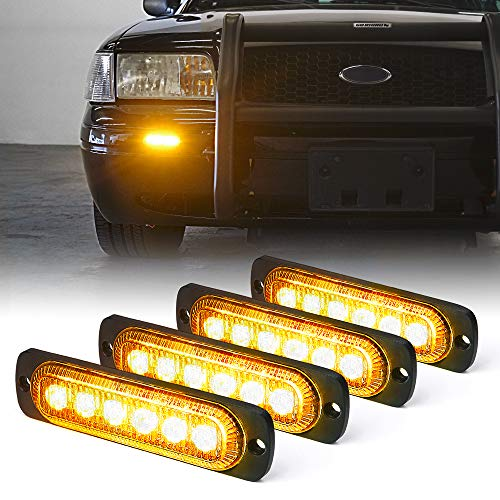 Xprite Amber 6 LED Emergency Strobe Lights Kit Surface Flush Mount Side Marker Grill Grille Hazard Warning Light Head 18 Flashing Modes for Off-Road Vehicles ATV Trucks Cars - 4Pcs