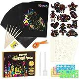 Kratzbilder Set für Kinder, Regenbogen Kratzpapier Set mit 50 Zeichnung und 14 Schablonen zum...