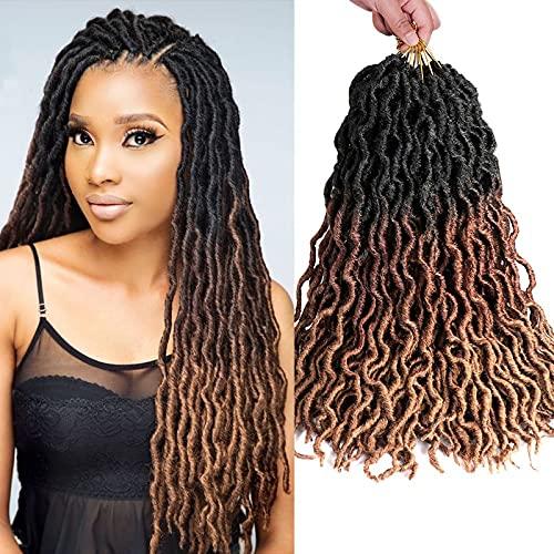 8 packs Ondulés Gypsy Faux Locs Nu Locs Ombre Crochet Cheveux Synthétique Tressage Extensions de Cheveux Déesse 100% Fibre Kanekalon Faux Locs Racines Africaines Synthétique Avec Extrémités Bouclées