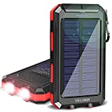 Solar Charger,YELOMIN 20000mAh Portable Waterproof Solar Power Bank for Cellphones External Backup Battery Pack Built-in Dual USB Outputs/LED Flashlights,Compatible with Tablets and Other Devices