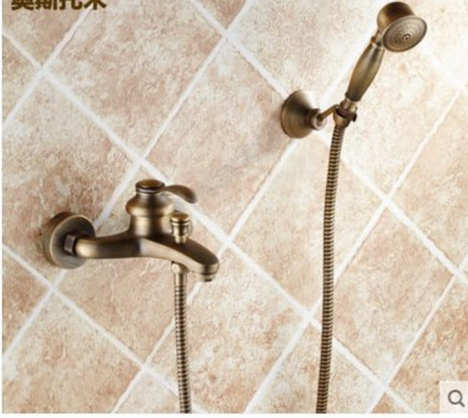 Electroplating Retro Faucet New Arrivals Wall mounted antique brass bronze brushed bathtub faucet with hand shower bathroom shower faucets torneiras,White