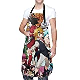 IUBBKI Delantal de cocina The Deadly Seven Sins Waterproof Aprons,Adjustable Bib Aprons with Pockets Cooking Kitchen Chef Aprons for Men Women
