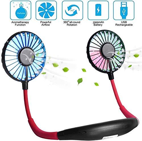Draagbare ventilator Mini USB-ventilator Handvrije persoonlijke ventilator Hangende nek Sportventilator Draagbare USB-desktopventilator,3 snelheden,USB oplaadbaar,360 graden aanpassing voor.