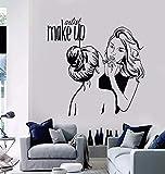 Vinyle Autocollant Mural Maquillage Artiste Autocollant Mural Cosmétiques Salon De Beauté Décoration Peinture Murale Amovible Maquillage Boutique Mur Affiche