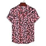 Shirt Hombre Verano Cárdigan Holgada Transpirables Hombre Hawaiana Camisa Moderno Playa Vacaciones Estilo Hombre Manga Corta Ligera Transpirable Hombre Camiseta TD01 L