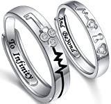 Matching Promise Rings for Couples Engagement Wedding Adjustable Ring Sets for Him and Her Couple Jewelry for Men and Women