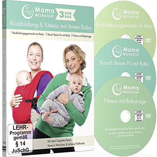 MamaWORKOUT - Rückbildung & Fitness mit Ihrem Baby - 3-DVD-Box zum Sparpreis ++ 1. Rückbildungsgymnastik mit Baby ++ 2. Bauch Beine Po mit Baby ++ 3. ... mit Babytrage ++ von Expertin Verena Wiechers