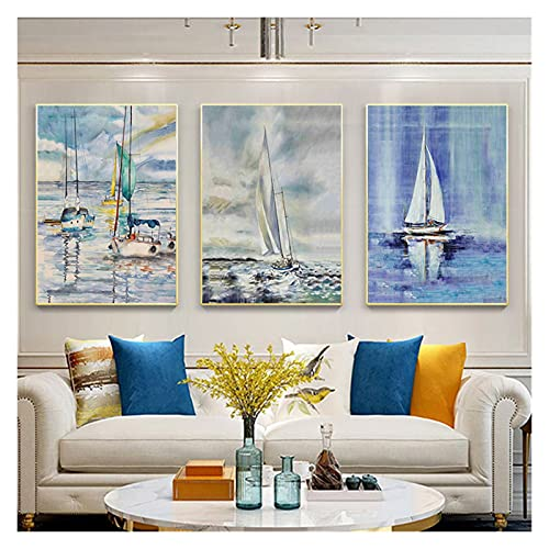 WQHLSH Velero de mar Tabla de Surf Arte de la Pared Pintura de Lona Pósteres y Estampados Pósteres Nordic pósteres para la decoración de la Sala de Estar 20x28 x3 Inch Sin Marco