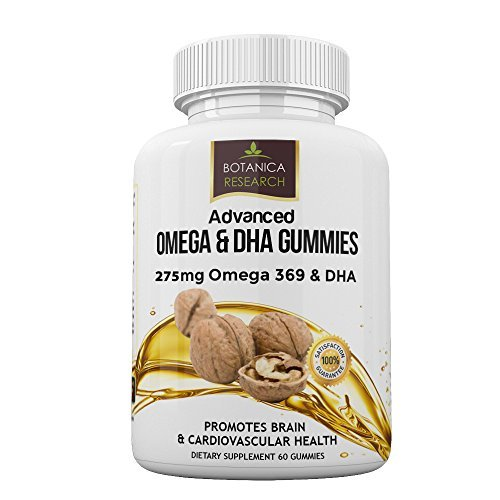 Omega 3 6 9 Chewable Gummy Supplement with DHA Vitamin C - Fatty Acids Vitamin for Cardio Vascular, Cognitive & Boost Immune System Support - No Fish Oil Taste 60 Triple Strength Gummies Botanica