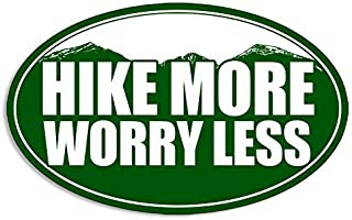 GHaynes Distributing Oval HIKE MORE WORRY LESS Sticker Decal (decal hiking hiker mountain) Size: 3 x 5 inch