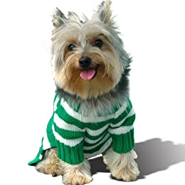 Pet Apparel - White and Green Stripe Dog Hoodie Jumper
