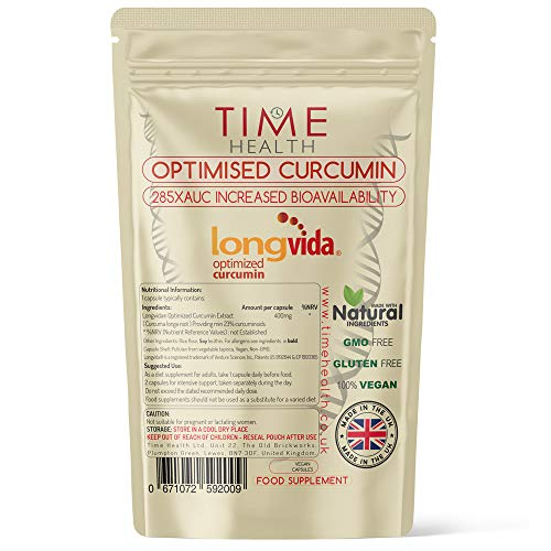 New: Longvida Optimised Curcumin Extract from Turmeric - 60 Capsules - Clinically Proven - 285XAUC Increased Bioavailability - Vegan - 2 Months Supply (60 Capsule Pouch)