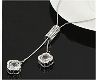 Zircon Long Necklace for Women Silver Color Crystal Maxi Necklaces Pendants Tassel Jewelry