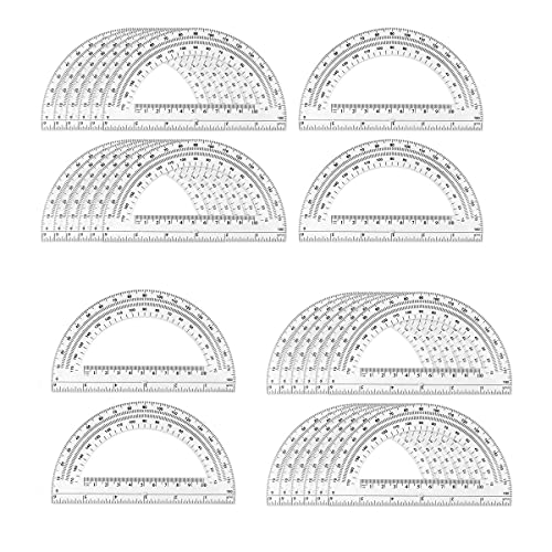 24 Pack Plastic Protractor Math Protractors 180 Degrees for Angle Measurement,6 Inch Student Math Protractor, Clear