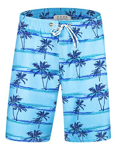 APTRO Men's Quick Dry Swim Trunks Palm Swimwear Beach Board Shorts APS01 Blue X-Large