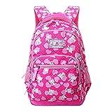 MLOPPTE Mochilas escolares ligeras para niños para niñas, mochila para niños, mochilas escolares, mochila, mochila con cremallera, rosered