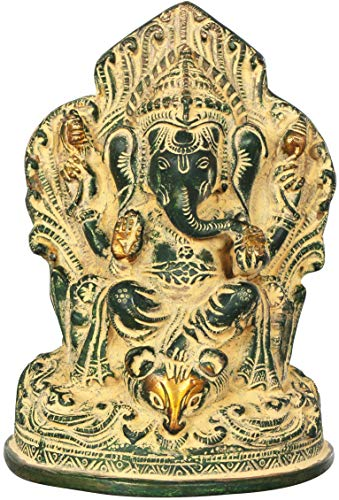 Exotic India Throne Ganesha with Leg Resting on Mouse Head - Brass Sculpture - Color Mud Green Gold Color