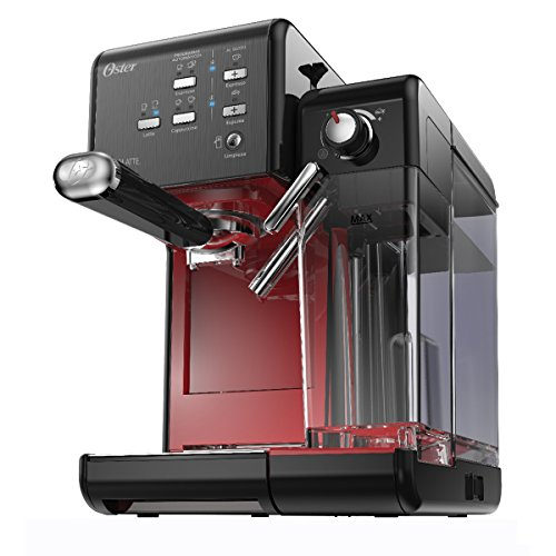 Oster BVSTEM6701B-013 PrimaLatte – Cafetera automática con 19 bares, Negro/Rojo