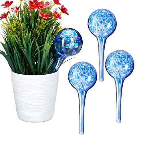 Relaxdays 4 x Bewässerungskugel im Set, dosierte Bewässerung Pflanzen u. Blumen, Gießhilfe Büro, Urlaub, Ø 6 cm, Glas, blau