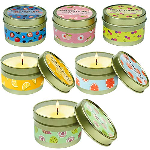 LASENTEUR Scented Candles Aromatherapy Candle Gift Set Natural Soy Wax Home Fragrance for Christmas, Birthday, Valentine's Day, Mother's Day for Stress Relief, Home Decor, 6 Packs, Fruity Fragrance