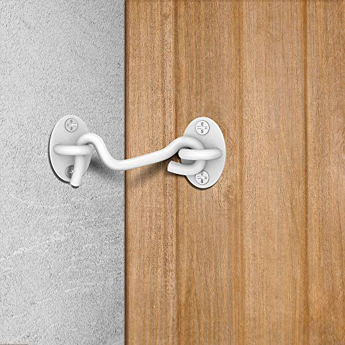 """Product Image 2: Barn Door Lock, 2 Pack 4"""" Barn Door Latch, Heavy Duty Solid Thicken Stainless Steel Gate Latch Lock, Add More Security and Privacy. Cabin Hooks and Eye Latch Best for Barn Door, Bathroom (White)"""