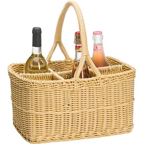 Saleen Flaschen-Korb für bis zu 6 Flaschen, Gastrotauglich, Rechteckig, 30 x 29 x 20 cm, Kunststofffaser, Hellbeige, 02011630101