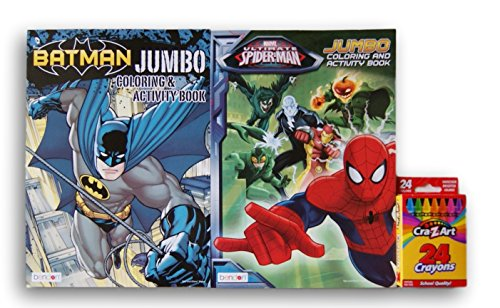 Comic Book Superheroes Coloring Bundle - Batman and Spider-Man with Box of 24 Crayons