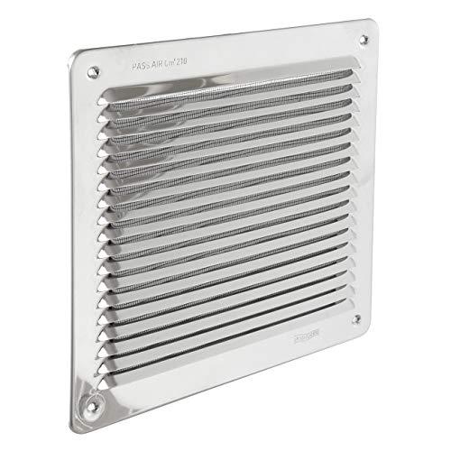 La Ventilazione LAR2323IN Griglia di Ventilazione Quadra da Sovrapporre con rete antinsetti, Inox430, dimensioni 228x228 mm