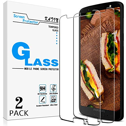 [2-Pack] KATIN For Motorola Moto G6 (5.7-inch) Tempered Glass Screen Protector No-Bubble, 9H Hardness, Easy to Install