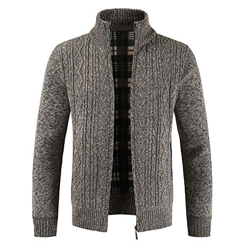 Clearance Forthery Men's Zip Knitted Cardigan Fleece Knitted Sweater Cardigan Coat(Coffee, US Size M = Tag L)